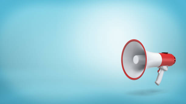 3d rendering of a single red and white electric megaphone with a handle stands on a blue background 3d rendering of a single red and white electric megaphone with a handle stands on a blue background. Public speaking. Crowd control. Grab attention. publicity event stock pictures, royalty-free photos & images