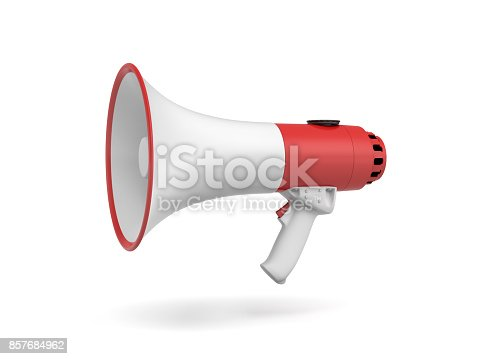 istock 3d rendering of a single red and white megaphone in side view on white background. 857684962