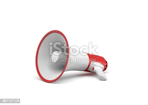 istock 3d rendering of a single red and white megaphone lying in side view on white surface. 867127126