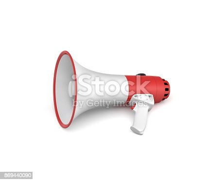 istock 3d rendering of a single red and white megaphone lying in side view on white surface. 869440090