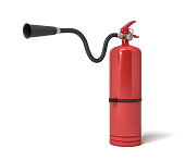 3d rendering of a single red fire extinguisher with its hose lifted up the nozzle pointed straight.