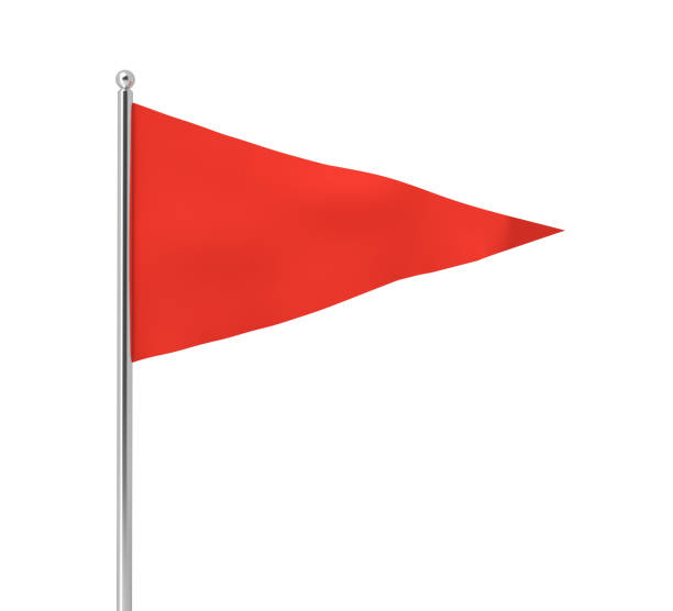 3d rendering of a single red triangular flag hanging on a post on a white background. stock photo