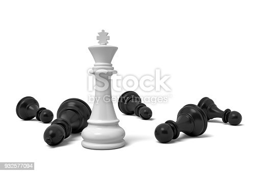 istock 3d rendering of a single standing white chess king piece among many fallen black pawns 932577094