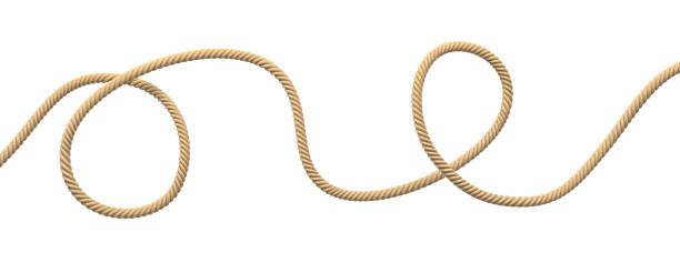 3d rendering of a single twisting natural rope lying unevenly on a white background. - верёвка стоковые фото и изображения