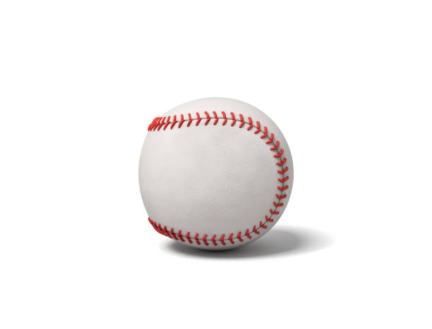 3d rendering of a single white baseball with red stitching throwing a shadow on a white background. stock photo