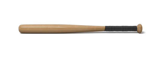 3d rendering of a single wooden baseball bat with a wrapped handle isolated on a white background stock photo