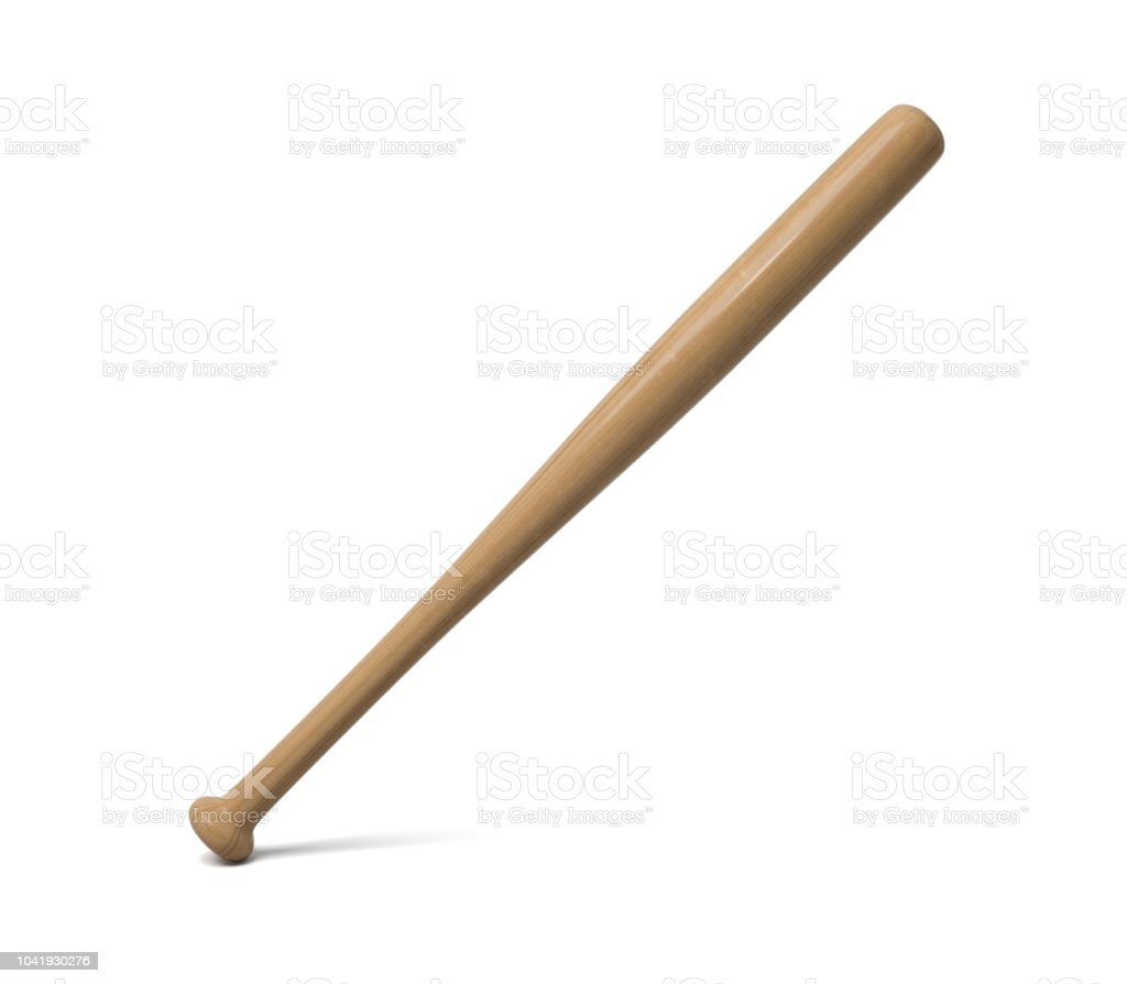 3d rendering of a single wooden baseball bat with polish finishing standing on a white background. stock photo