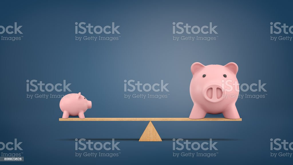 3d rendering of a small piggy bank in side view stands on a wooden seesaw balanced with a large piggy bank in front view. stock photo