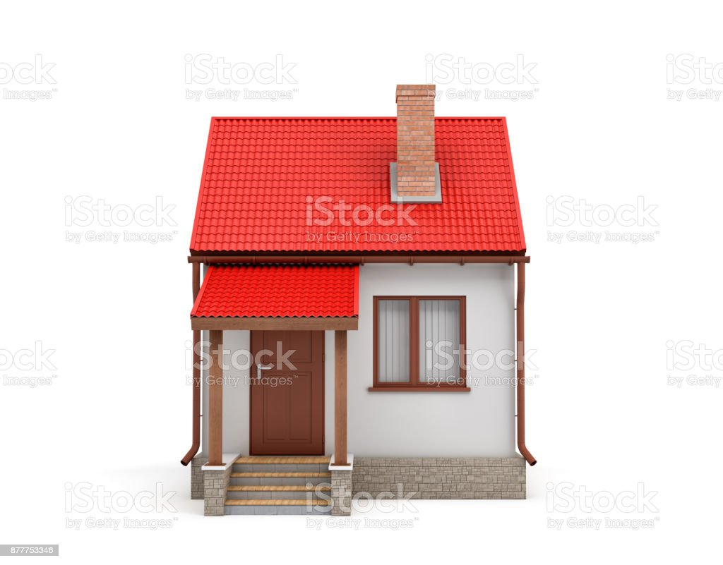 3d rendering of a small residential house with a chimney and a red roof on a white background. stock photo