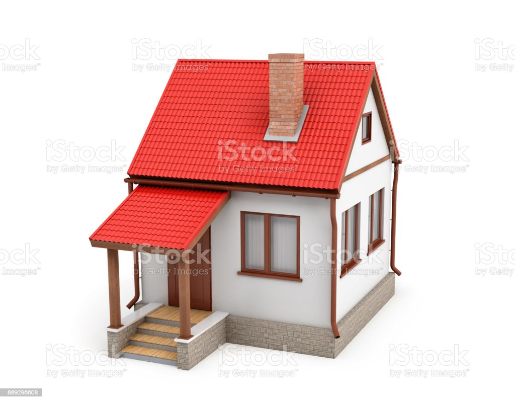 3d rendering of a small residential house with a chimney and a red roof on a white background stock photo