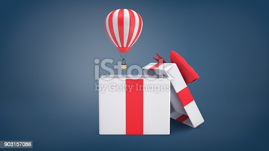 istock 3d rendering of a small striped hot air balloon flying out of a large white gift box with a red ribbon bow 903157086
