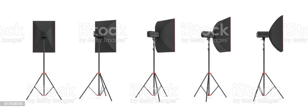 3d rendering of a softbox lighting set on a stand in different angles vector art illustration
