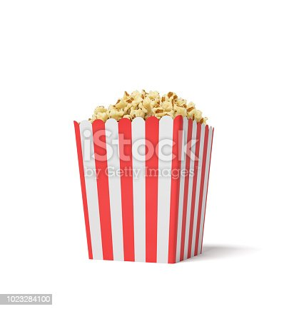 istock 3d rendering of a square striped popcorn bucket filled with this snack over the brim on a white background 1023284100