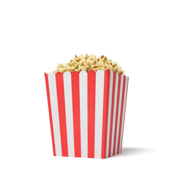 3d rendering of a square striped popcorn bucket filled with this snack over the brim on a white background stock photo