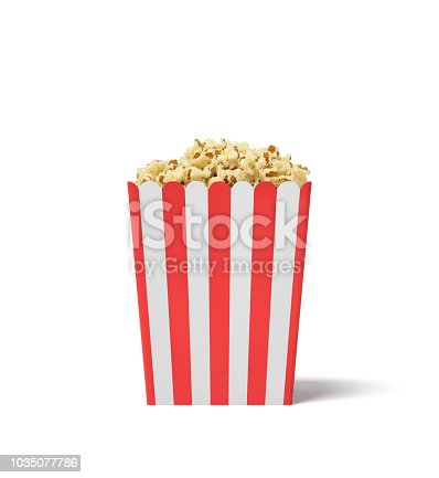 istock 3d rendering of a square striped popcorn bucket filled with this snack over the brim on a white background. 1035077786