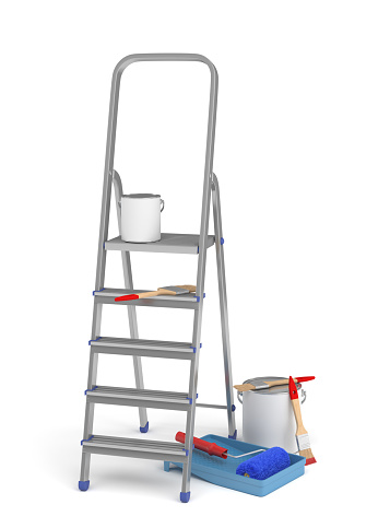 3d rendering of a stepladder standing near paint buckets and brushes isolated on a white background. Home renovation. Home improvement tools. Redesigning your apartment.