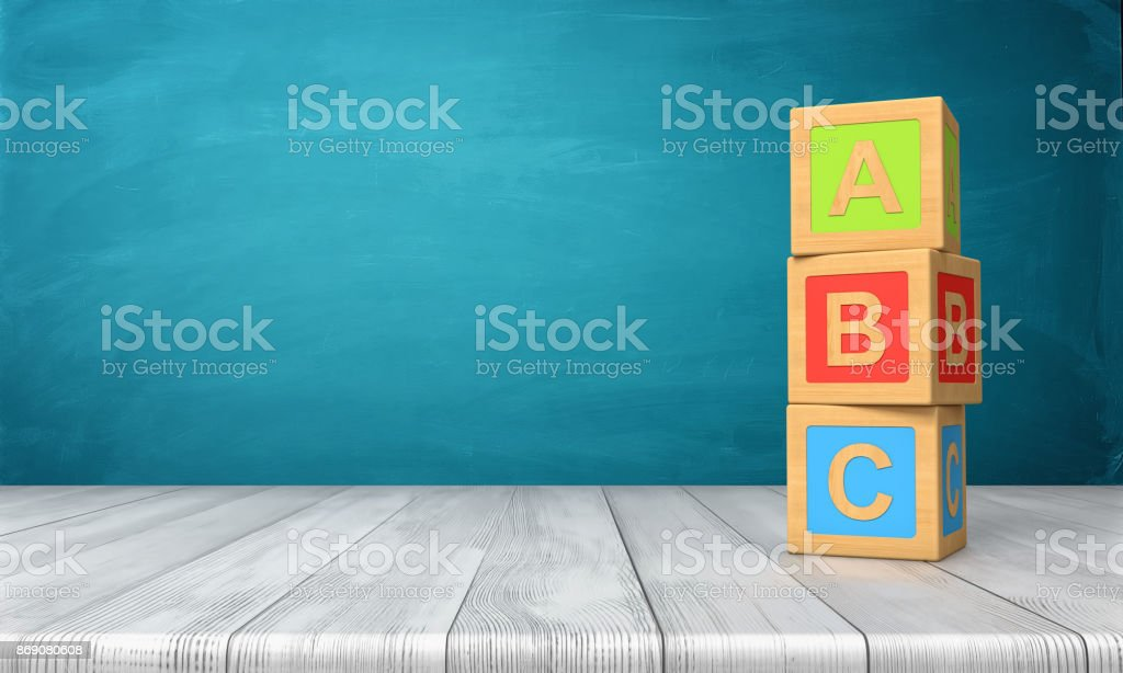 3d rendering of a three toy blocks standing on a wooden desk in one tower with letters A, B and C on them. royalty-free stock photo