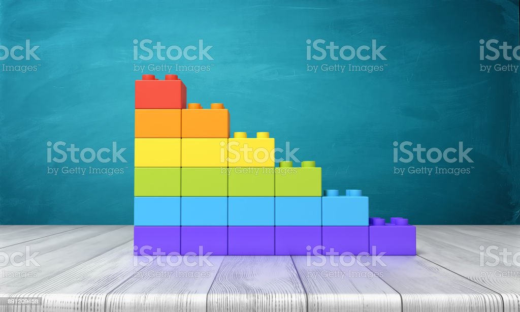 3d rendering of a toy building blocks arranged into rainbow colored stars on top of a wooden desk stock photo