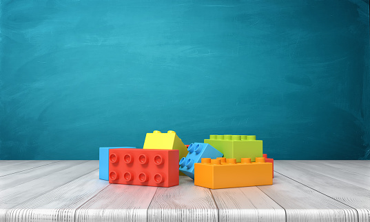 3d Rendering Of A Toy Building Blocks Lying In A Colorful