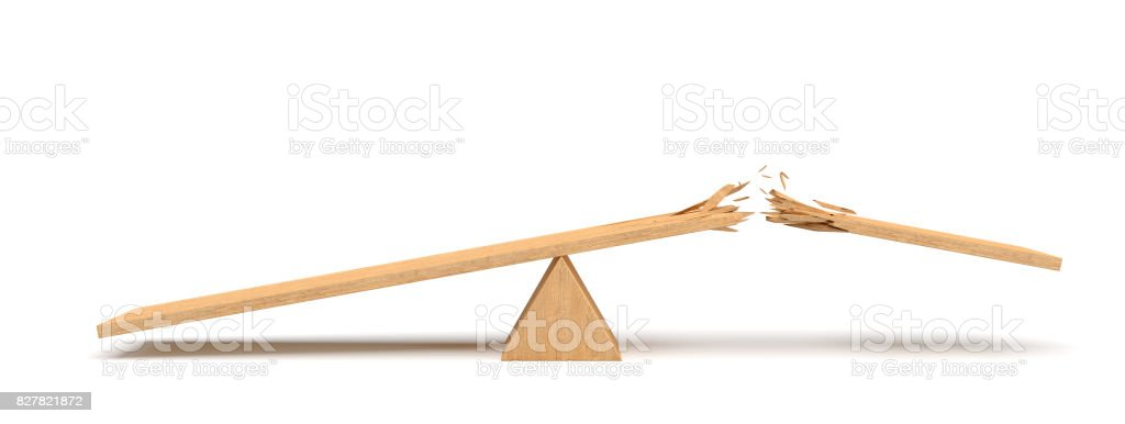 3d rendering of a triangle seesaw made of light wood with a broken plank on white background stock photo