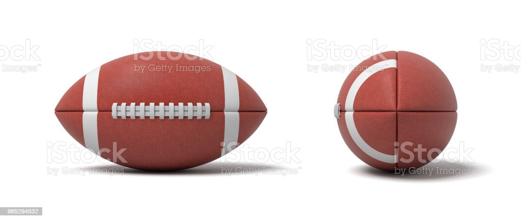 3d rendering of a two red oval balls for American football in front and side views royalty-free stock photo
