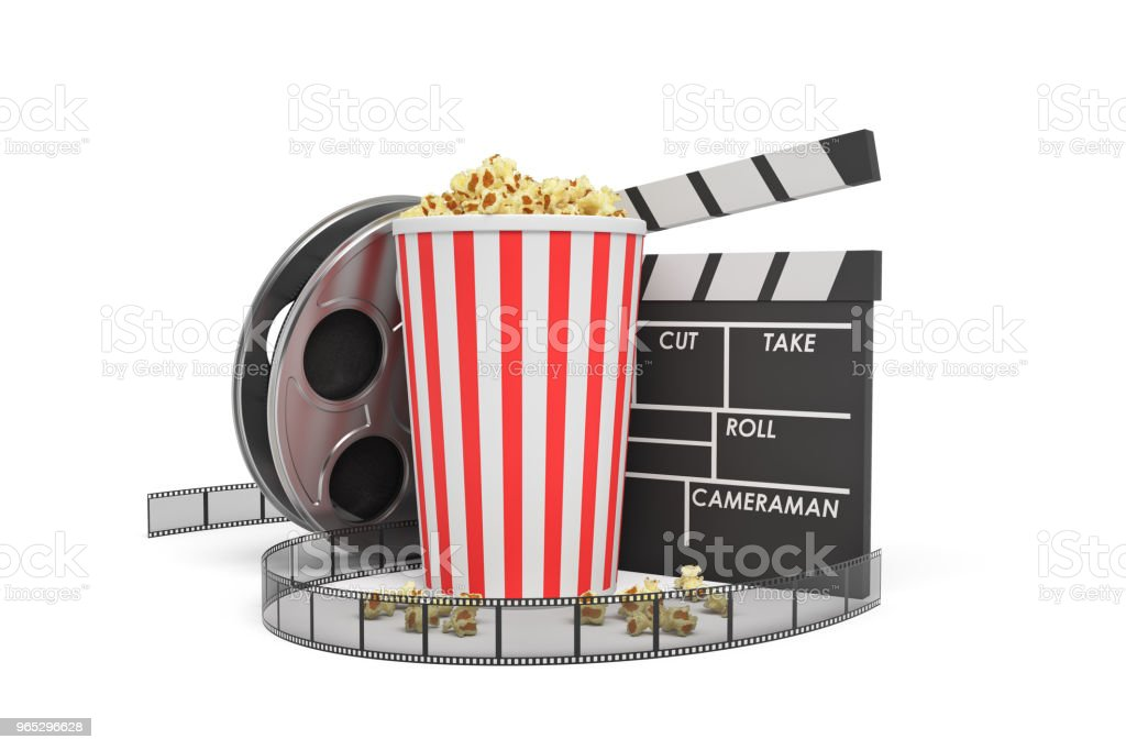3d rendering of a video reel, popcorn bucket and a clapperboard on a white background royalty-free stock photo