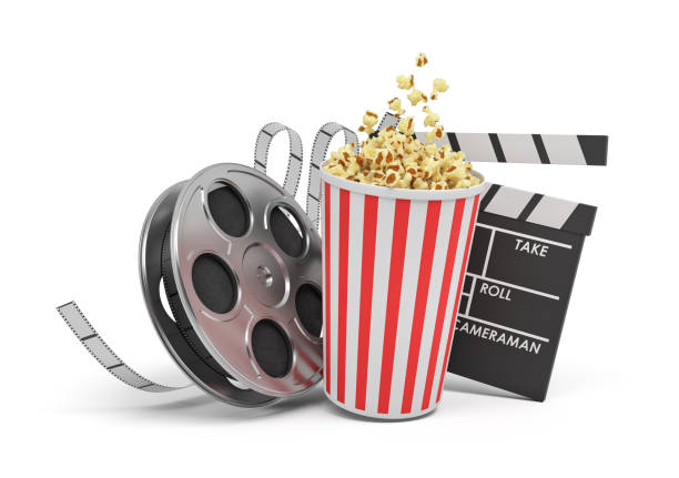 3d rendering of a video reel, popcorn bucket and a clapperboard on a white background stock photo