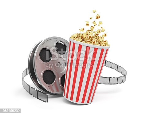 istock 3d rendering of a video reel with video film stretching around a big bucket full of popcorn 985459232