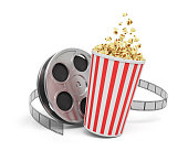 3d rendering of a video reel with video film stretching around a big bucket full of popcorn. Watching movies. Leisure and culture. Video art.