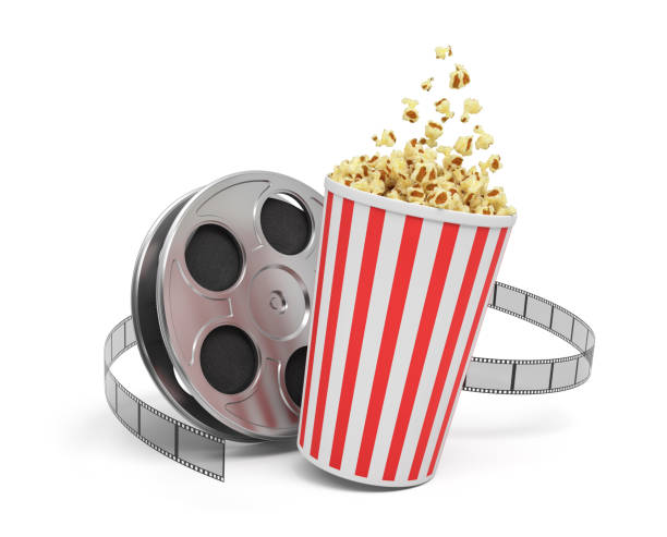 3d rendering of a video reel with video film stretching around a big bucket full of popcorn 3d rendering of a video reel with video film stretching around a big bucket full of popcorn. Watching movies. Leisure and culture. Video art. movie stock pictures, royalty-free photos & images
