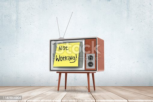 3d rendering of a vintage tv set with yellow