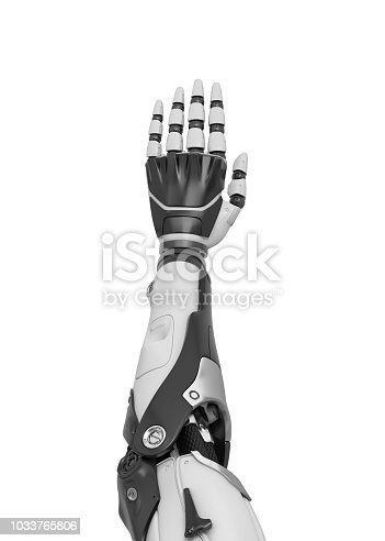 istock 3d rendering of a white and black robotic hand shown vertically from the back of the palm. 1033765806