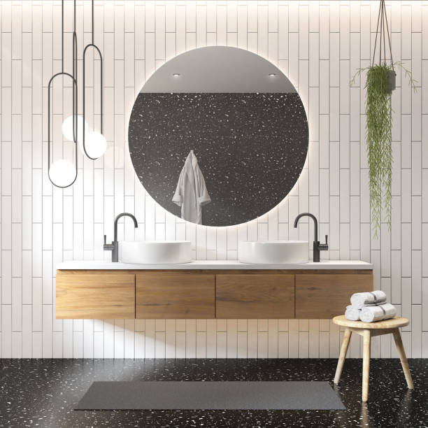3d rendering of a white and grey contemporary modern bathroom stock photo