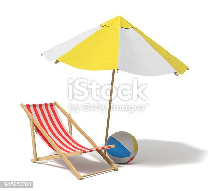 istock 3d rendering of a white and yellow beach umbrella and wooden deck chair 945650704