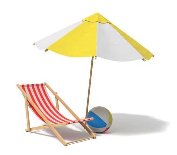 3d rendering of a white and yellow beach umbrella and wooden deck chair - man made object stock photos and pictures