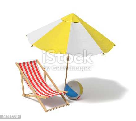 istock 3d rendering of a white and yellow beach umbrella and wooden deck chair 965662254