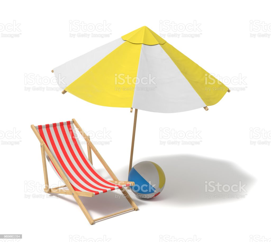 3d rendering of a white and yellow beach umbrella and wooden deck chair stock photo