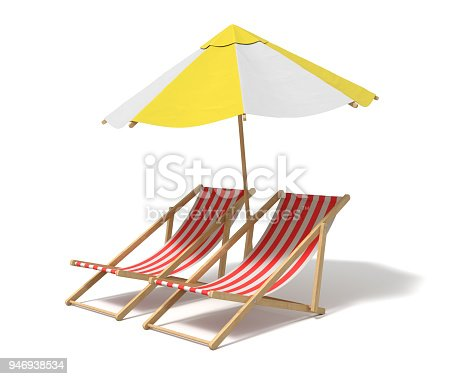 istock 3d rendering of a white and yellow beach umbrella standing above two deck chairs 946938534