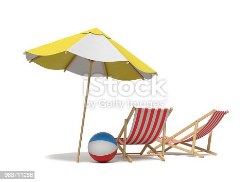 istock 3d rendering of a white and yellow beach umbrella standing above two deck chairs 963711288