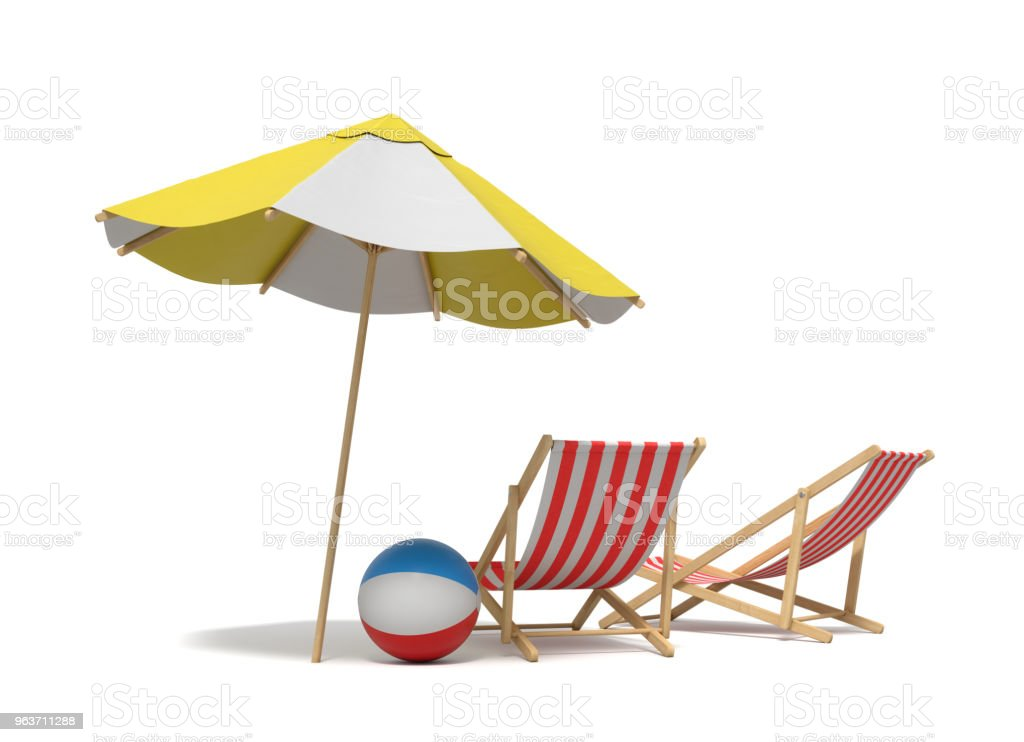 3d rendering of a white and yellow beach umbrella standing above two deck chairs stock photo