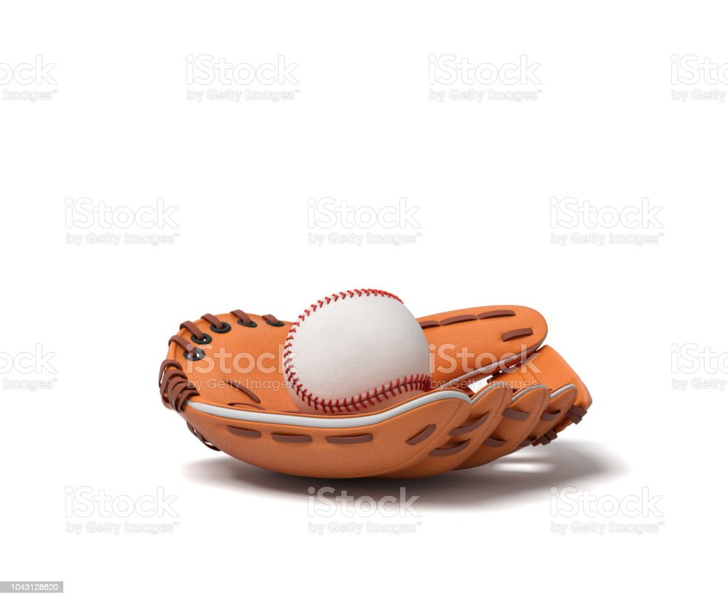 3d rendering of a white baseball with red stitching lying inside an open leather mitt on a white background. stock photo