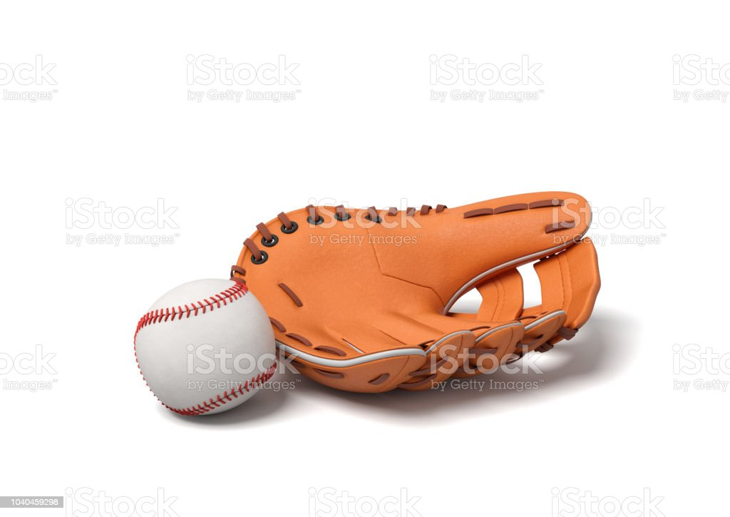 3d rendering of a white baseball with red stitching lying near leather mitt on a white background. stock photo