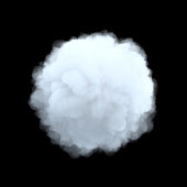 3d rendering of a white bulky cumulus cloud in shape of circle on a black background. Weather and climate. Natural phenomena. Weather observations.