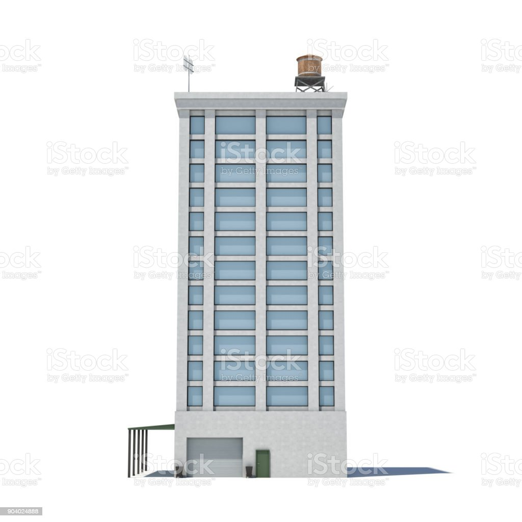 3d rendering of a white high office building with many large windows and a garage on the ground floor stock photo