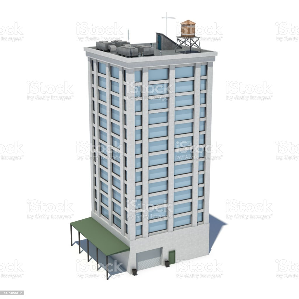 3d Rendering Of A White High Office Building With Many