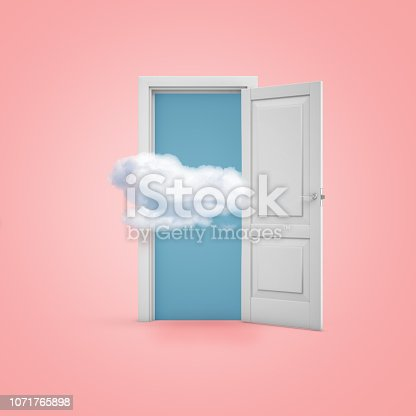 922736714 istock photo 3d rendering of a white open doorway with a cloud on light pink background 1071765898