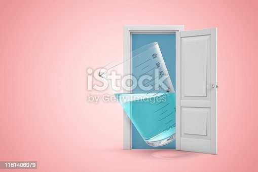 istock 3d rendering of a white open doorway with measuring cup filled with transparent liquid on light pink background 1181406979