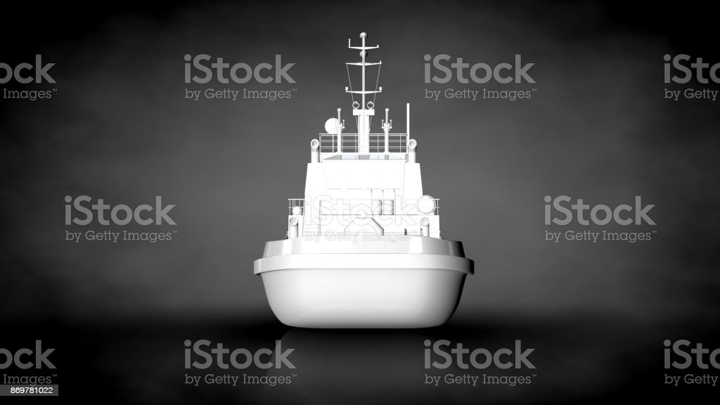 3d rendering of a white reflective ship on a dark background stock photo
