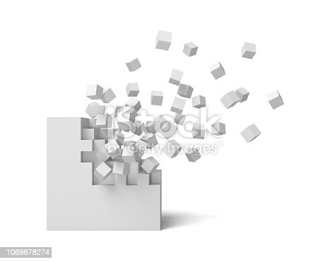 3d rendering of a white square on a white background starting to get destroyed piece by piece. Destruction and deterioration. Falling out. Debris.