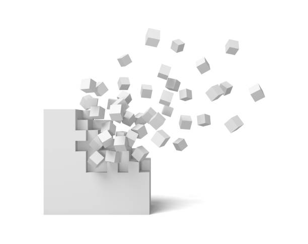 3d rendering of a white square on a white background starting to get destroyed piece by piece. - cube shape stock pictures, royalty-free photos & images